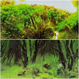 """Double Sided Aquarium Background 19""""x48"""" Deep Ocean Greenery or Natural Greenery"""