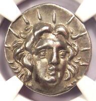 Caria Rhodes Greek AR Didrachm Coin Rose Helios 205-190 BC - NGC Choice XF