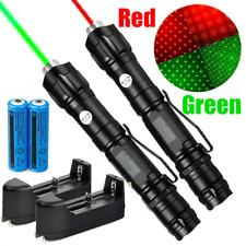 2Pcs 900 Miles Star Red Green Laser Pointer Pen Lazer with 18650 Battery&Charger
