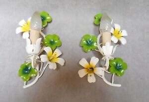 PAIR French vintage tole  WALL Light SCONCES florals