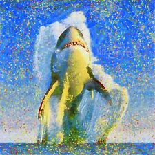 NIK TOD RECREATED FROM ORIGINAL PAINTING LARGE ART SHARK COMES OUT OF THE OCEAN