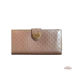 Authentic GUCCI Pink Patent Heart Shine Micro GG Continental Long Wallet 203550