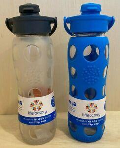 Lifefactory BPA Free 22 oz Glass Water Bottle Silicone Grip Flip Cap Sports Yoga