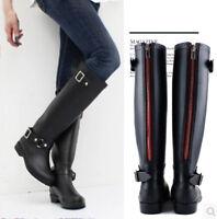 Womens Girls Back Zipper Punk Low Heels Welly Wellies Wellington Rain Snow Boots