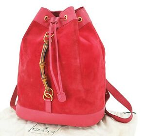 Authentic GUCCI Red Suede and Leather Bamboo Handle Backpack Bag #25017A