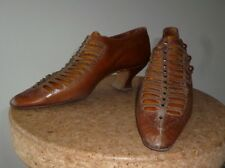 VINTAGE ANTIQUE VICTORIAN SHOES BROWN LEATHER DUPONT BUTTONS STEEL BEADS + LASTS