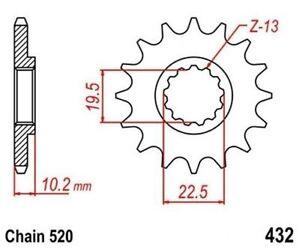 TMP Pignon Sortie Boite Avant 12 Dents (chaîne 520) SUZUKI TS 250 X 1986-1989