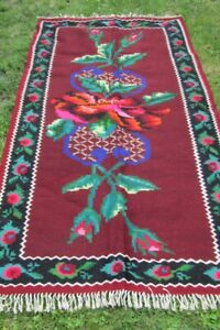 Romanian wool rug , flat woven ethnic rug , tribal small rug from Transylvania