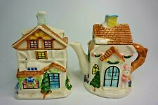Houston Harvest Tea Pot and Bag Holder Set Santa House Collectibles