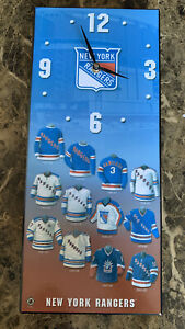 """Large New York Rangers Rectangle Wall-Clock 16"""" x 7"""" For Parts VERY CLEAN! C1"""