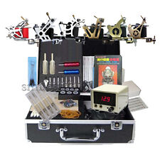 new Complete Tattoo 6 Machine kit silver lcd power Equipment beauty art supply