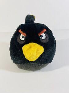 "Angry Birds Stuffed Animal Plush Bird Bomb Black 4.5"" Round Clean Free Shipping"