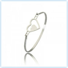 NEW SOLID QUALITY SURGICAL STEEL SILVER GOLD HEART OVAL BRACELET HYPOALLERGENIC