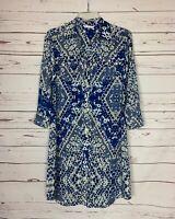 Cabi Women's S Small Blue Button 3/4 Sleeves Cute Shirt Spring Summer Dress $128