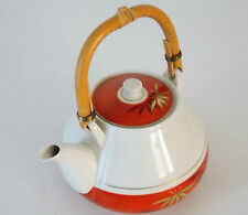 VINTAGE HANDPAINTED TEAPOT, TEA POT RED/ORANGE, WHITE & GILD WITH BAMBOO HANDLE