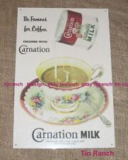 VINTAGE style CARNATION MILK TIN SIGN coffee antique TEA CUP chic shabby PRETTY