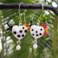 Black & white polka dot chicken & egg earrings - glass rooster beads- handmade