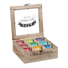 Teebox Holz Teekiste 9 Fächer Tee Aufbewahrung Teekasten Teebeutelbox Teeregal