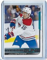 2018-19 UPPER DECK #249 JESPERI KOTKANIEMI YOUNG GUNS ROOKIE CARD RC SP MONTREAL