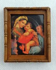 Dolls House Mother & Children Picture Painting Wooden Frame