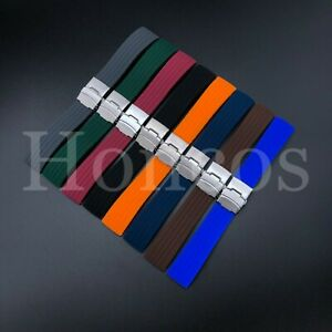 18-24 MM Color Silicone Rubber Watch Band Strap Deployment Clasp Fits Bulova USA