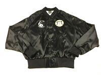 Vintage Tai Chi Chi Kung Adult Medium Black Satin Patches Snap Bomber Jacket