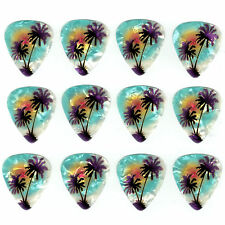 12 Pack PALM TREES Light Blue BEACH Hawaii Ocean Medium Gauge 351 Guitar Picks