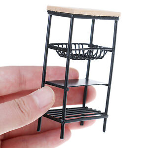 Miniature Scullery Items - Black Stand, Basket, Clock, Crate, Eggs, Bottles+++