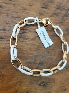 NWT Womens Stainless Steel and White Gold Tone Ceramic Chain Link Bracelet