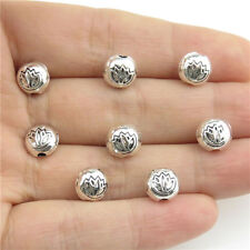 20997 50pcs Antique Silver Findings Alloy Charms 8mm Lotus Flower Spacer Beads