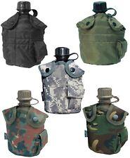 US FELDFLASCHE TRINKFLASCHE Army BW Bundeswehr mit Bezug Schwarz Oliv Camouflage