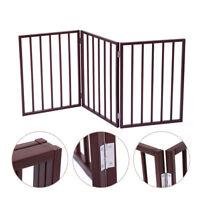 "24"" Folding Solid Wooden Pet Dog Fence Playpen Gate 3 Panel Free Standing Indoor"