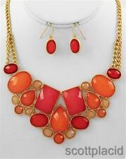 Orange charm gold earring necklace set women fashion wedding bridal prom jewelry