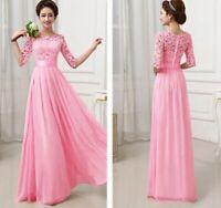 Hot Fashion Long Chiffon Lace Evening Formal Party Prom Women Bridesmaid Dress