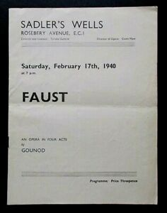 Faust programme Sadler's Wells Opera Theatre Sat 17th February 1940 Henry Wendon