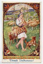J. KOËI . PAQUES . Bergère et troupeau de moutons. Chien . Easter . Sheep . Dog