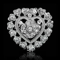 NEW SILVER HEART AND FLOWER RHINESTONE DIAMANTE CRYSTAL PIN BROOCH WEDDING GIFT