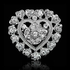FASHION WEDDING CHIC SILVER HEART FLOWER RHINESTONE DIAMANTE CRYSTAL PIN BROOCH