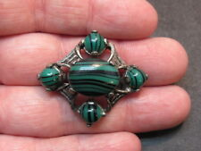 Vintage Scottish Signed MIRACLE Silvertone Green Agate  Pin Brooch
