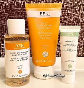 REN Ready Steady Glow Daily AHA Tonic+Smart Renewal Body Serum+Evercalm Recovery