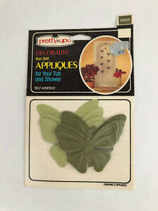 Vintage Pretty Ups 12 Bathtub Shower Appliques Green Butterfly