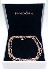 Authentic PANDORA Rose 14k Gold P Long Cable Chain Necklace 388574c00