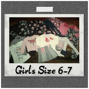 GIRLS CLOTHES LOT~OUTFITS TOPS JEANS LEGGINGS SETS OLD NAVY JUSTICE GAP SIZE 6-7