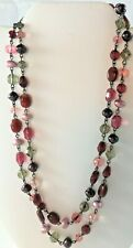 Lia Sophia Purple Pink Magenta Crystal Two Strand Necklace Red Violet