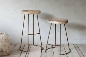 Curved Mango Wood Seat Bar Stool, Rust Iron Metal Legs, Nkuku Loko Tall 75cm