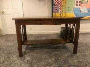 Antique Vtg Oak Mission Arts and Craft Library Desk Table