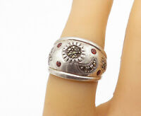 925 Sterling Silver - Vintage Red Topaz & Marcasite Band Ring Sz 6 - R16586