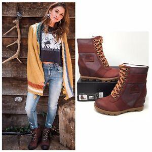 NIB ($170) Sorel Lexie Wedge Waterproof Leather Boots in Cattail (Marron), Sz 8