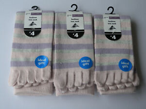 Ladies 3pk Warm Cosy Pink Stripe Toe Socks Christmas Warm Stocking Filler Deal