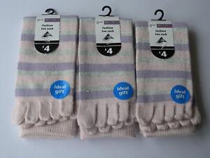 Ladies 3pk Warm Cosy Pink Stripe Toe Socks Christmas Warm Stocking Filler Deal